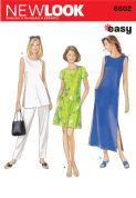 6602 New Look Pattern: Misses' Loose Fitting Dress, Top and Trousers
